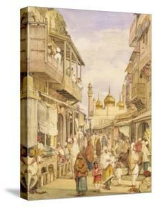 Crowded Street Scene in Lahore, India by William Carpenter