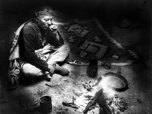 Navajo Man Smoking, C1915 by William Carpenter