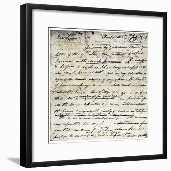 William Clark's Letter Accepting Lewis's Invitation to Join the Corps of Discovery Expedition--Framed Giclee Print