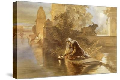Indian Woman Floating Lamps on the Ganges, from 'India Ancient and Modern', 1867 (Colour Litho)