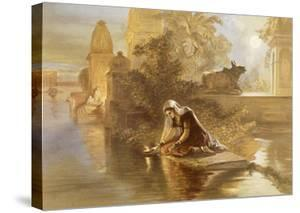 Indian Woman Floating Lamps on the Ganges, from 'India Ancient and Modern', 1867 (Colour Litho) by William 'Crimea' Simpson