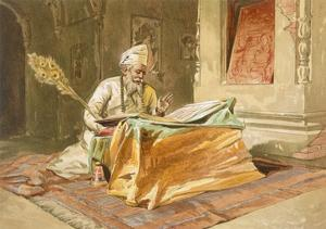 Sikh Priest Reading the Grunth, Umritsar, from 'India Ancient and Modern', 1867 (Colour Litho) by William 'Crimea' Simpson