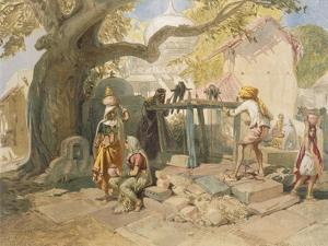 The Village Welll, from 'India Ancient and Modern', 1867 (Colour Litho) by William 'Crimea' Simpson
