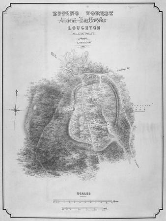 Map of the Ancient Earthworks at Loughton Camp Made around Ad 52 in Epping Forest, Essex, 1876