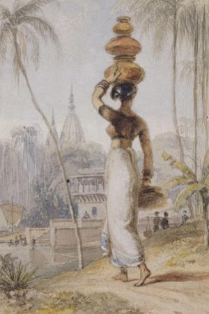 A Hindu Woman Carrying a Waterpot by William Daniell