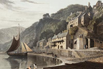 Clovelly, North Devon Coast. Hand Coloured Aquatint. a Voyage Round Great Britain by William Daniell