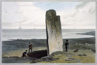Druidical Stone at Strather near Barvas, Isle of Lewis', Hebrides, Scotland, 1820 by William Daniell