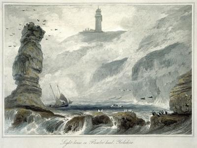 'Lighthouse on Flamborough Head', Yorkshire, 1822 by William Daniell