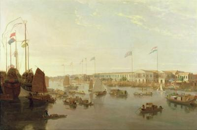 The European Factories, Canton, 1806 by William Daniell