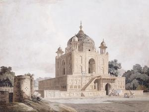 The Mausoleum of Sultan Parviz, Near Allahabad (Pencil, Pen and Black Ink, W/C) by William Daniell