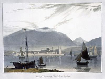 'View of Caernarvon Castle from Anglesea', Wales, 1814 by William Daniell