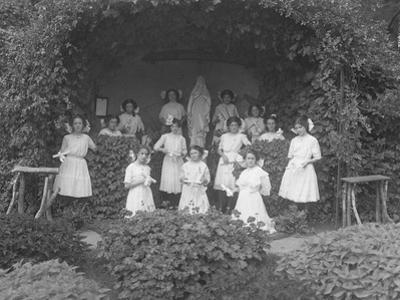 Graduating Class of Girls from the Roman Catholic Orphan Asylum Posed before the Grotto by William Davis Hassler