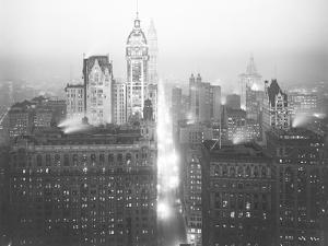 High-Angle Misty Night View of Lower Manhattan Looking North by William Davis Hassler