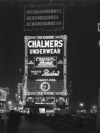 Illuminated Sign for Chalmers Underwear, New York City, January 6, 1917