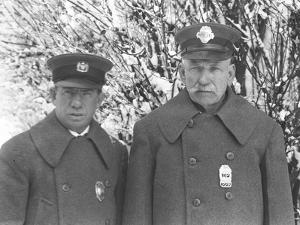 Larry Casey and John Connolly Posed in their Winter Uniforms in the Snow by William Davis Hassler