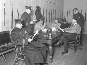Officers Relaxing in an Unidentified Police Station, C.1913-14 by William Davis Hassler