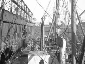 R.M.S. Carpathia Loading at Pier 54 N.R., 1912 by William Davis Hassler