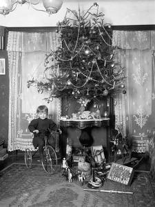 Seymour Boy Posed Seated on Tricycle Beside Christmas Tree in Parlor, Christmas 1912 by William Davis Hassler