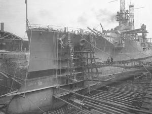 The U.S.S. Utah in Dry Dock at the Brooklyn Navy Yard, C.1912 by William Davis Hassler