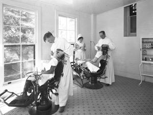 Two Patients Being Examined, Dentist's Room, Seton Hospital, Spuyten Duyvil, Bronx, Oct 30, 1914 by William Davis Hassler