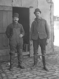 Unidentified Sewer Workers Pose Above Ground, New York, C.1911 by William Davis Hassler