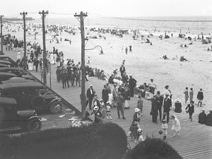 View of the Boardwalk and Beach from Curley's Hotel, Belle Harbor, Queens, July 11, 1915 by William Davis Hassler
