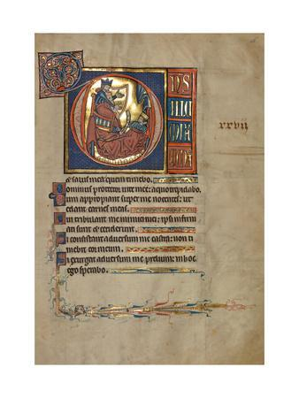 Ms 322 F.28R, Psalm 26, Initial D, David Harping before Saul, Illustration from the 'De Brailes…