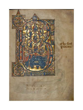 Ms 322 F.7R, Psalm 1, Initial B, Tree of Jesse, Illustration from the 'De Braile Psalter', C.1250