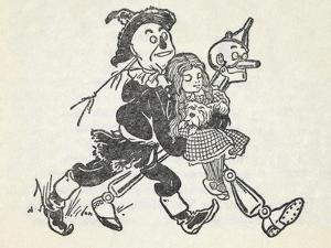 Scarecrow and the Tin Woodman Carrying a Sleeping Dorothy and Toto Out Of the Deadly Poppy Field by William Denslow