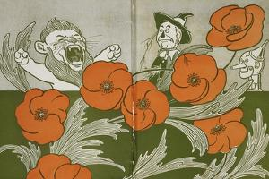 The Cowardly Lion, Scarecrow and Tin Woodman in the Deadly Field Of Poppies by William Denslow