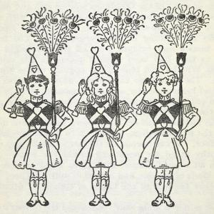 Three Young Girls, Dressed in Handsome Red Uniforms Trimmed With Gold ...' by William Denslow