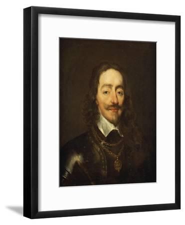 Portrait of King Charles I Wearing Armour and the Collage of the Order of the Garter