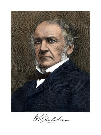 William Ewart Gladstone, with His Signature--Giclee Print