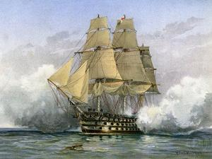 HMS Victory, British Warship, C1890-C1893 by William Frederick Mitchell