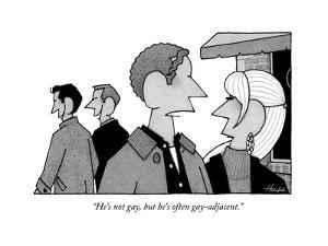 """He's not gay, but he's often gay-adjacent."" - New Yorker Cartoon by William Haefeli"