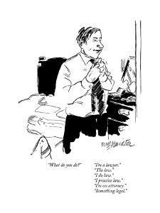 """What do you do?""      ""I'm a lawyer.""""The law.""""I do law.""""I practice ?"" - New Yorker Cartoon by William Hamilton"