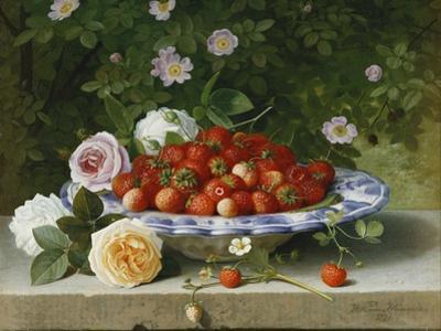 Strawberries in a Blue and White Buckelteller with Roses and Sweet Briar on a Ledge by William Hammer
