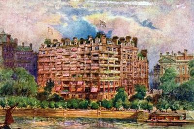 The Savoy Hotel as Seen from the River Thames, London, 1905 by William Harold Oakley