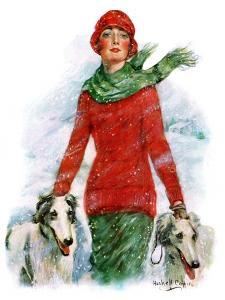 """""""Lady Walking Dogs in Snow,""""December 11, 1926 by William Haskell Coffin"""