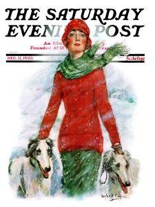 """""""Lady Walking Dogs in Snow,"""" Saturday Evening Post Cover, December 11, 1926 by William Haskell Coffin"""