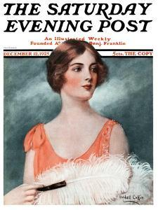 """""""White Feathered Fan,"""" Saturday Evening Post Cover, December 12, 1925 by William Haskell Coffin"""