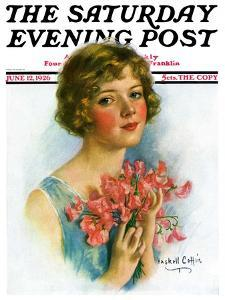 """Woman and Flowers,"" Saturday Evening Post Cover, June 12, 1926 by William Haskell Coffin"