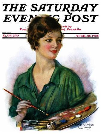 """Woman Artist and Her Palette,"" Saturday Evening Post Cover, April 28, 1928"