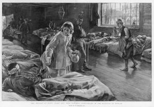 In Scutari Florence Nightingale Attends to a Patient by William Hatherell