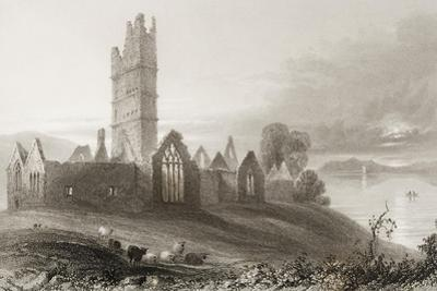 Moyne Abbey, County Mayo, Ireland, from 'scenery and Antiquities of Ireland' by George Virtue,… by William Henry Bartlett