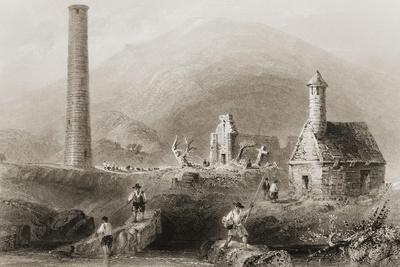 The Ruins at Glendalough, County Wicklow, Ireland, from 'scenery and Antiquities of Ireland' by…