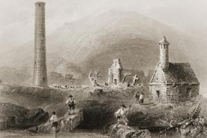 The Ruins at Glendalough, County Wicklow, Ireland, from 'scenery and Antiquities of Ireland' by… by William Henry Bartlett