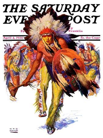 """Dancing Warrior,"" Saturday Evening Post Cover, April 4, 1936"