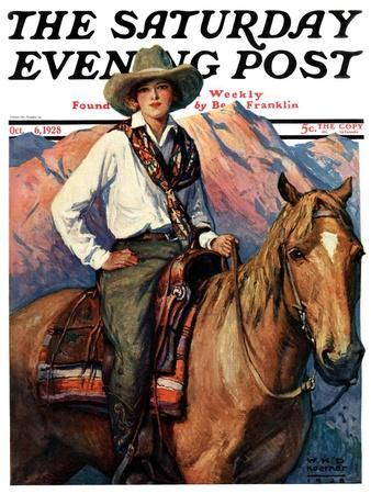 """""""Woman on Horse in Mountains,"""" Saturday Evening Post Cover, October 6, 1928"""