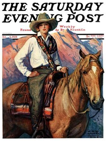 """Woman on Horse in Mountains,"" Saturday Evening Post Cover, October 6, 1928 by William Henry Dethlef Koerner"